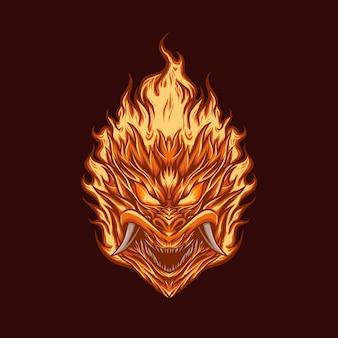 Illustration vectorielle de tête démon flamme