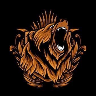 Illustration vectorielle tête grizzly avec ornement de gravure
