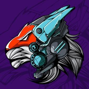 Illustration vectorielle de tête de lion cyberpunk