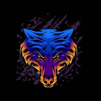 Illustration vectorielle de tête de loup. convient pour les t-shirts, les imprimés et les vêtements