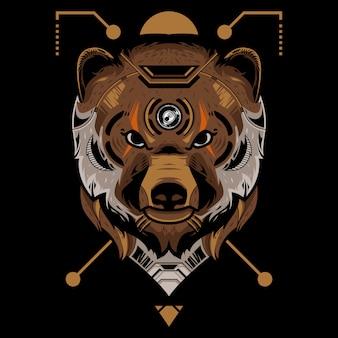 Illustration vectorielle tête parfaite ours sur fond noir