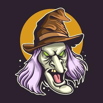 Illustration vectorielle tête de sorcière avec lune