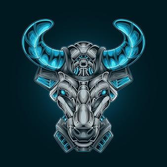 Illustration vectorielle de tête de taureau mecha