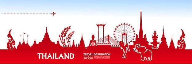 Illustration vectorielle de thaïlande voyage destination grand.