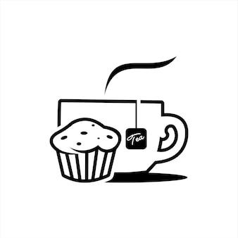 Illustration vectorielle de thé et dessert de contour