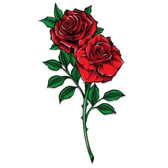 Illustration vectorielle de tige rose rouge