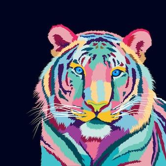 Illustration vectorielle de tigre coloré pop art