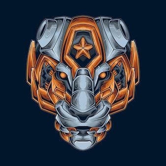 Illustration Vectorielle De Tigre Mecha Vecteur Premium