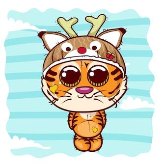 Illustration vectorielle d'un tigre mignon. - vecteur