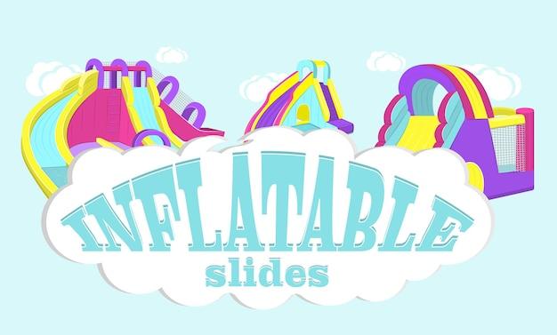 Illustration vectorielle de toboggans gonflables isolés sur fond bleu.