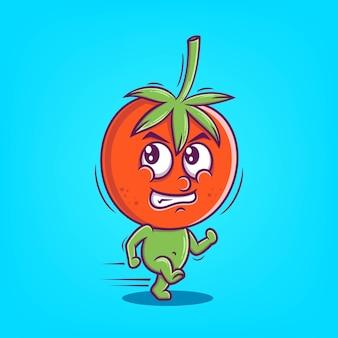 Illustration vectorielle de tomate dessinée à la main mignon peur icône dessin animé