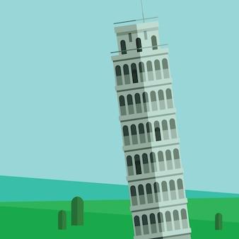 Illustration vectorielle de la tour penchée de pise