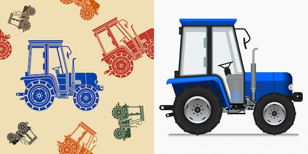 Illustration vectorielle de tracteur de ferme modifiable
