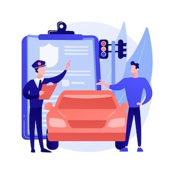Illustration vectorielle de trafic fine concept abstrait. infraction au code de la route, contravention pour excès de vitesse, paiement en ligne, infraction aux règles de conduite, contrôle de la vitesse, caméra au feu rouge, métaphore abstraite du panneau d'arrêt.
