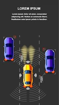 Illustration vectorielle de trafic de voiture autonome vue de dessus