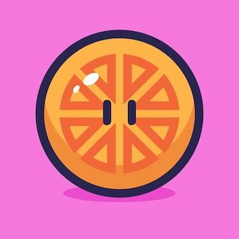 Illustration vectorielle de tranche d'orange dessin animé