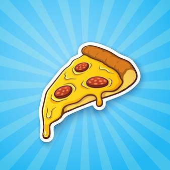 Illustration vectorielle tranche de pizza au fromage fondu et pepperoni sur fond bleu avec brillant
