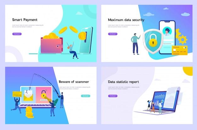 Illustration vectorielle de transfert d'argent en ligne, concept de protection des données numériques, paiement en ligne, escroquerie par hameçonnage, rapport de crédit