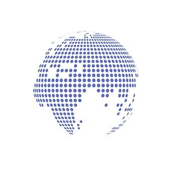 Illustration vectorielle transparente en verre globe en pointillé blanc.