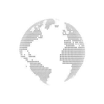 Illustration vectorielle transparente en verre globe en pointillé blanc