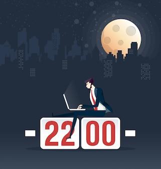 Illustration vectorielle de travail acharné homme d'affaires