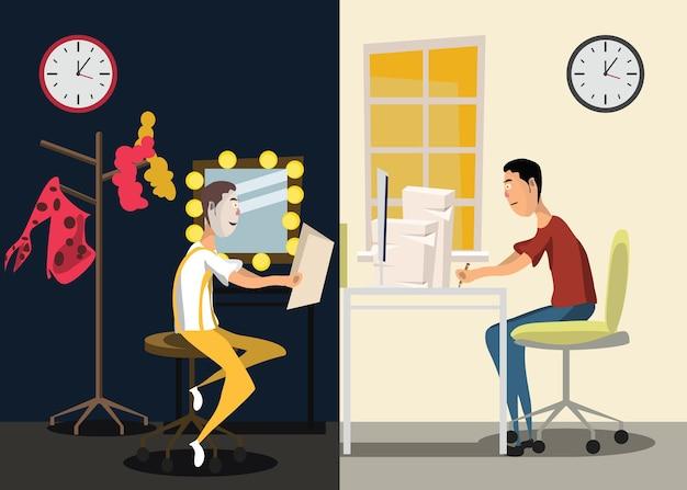 Illustration vectorielle de travail différent