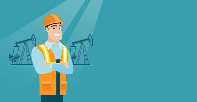 Illustration vectorielle de travailleur pétrolier confiant.