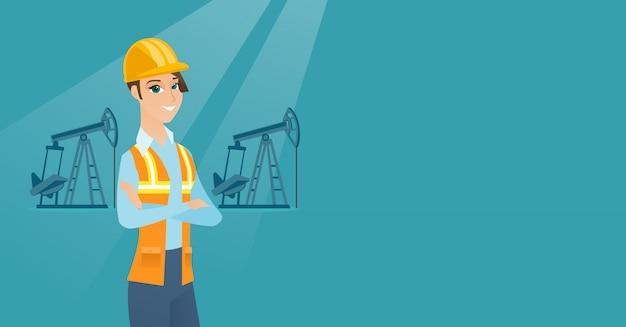 Illustration vectorielle de travailleur pétrolier.