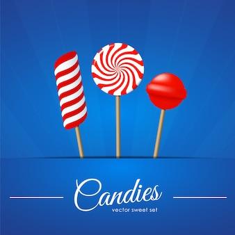 Illustration vectorielle: trois bonbons sur bleu