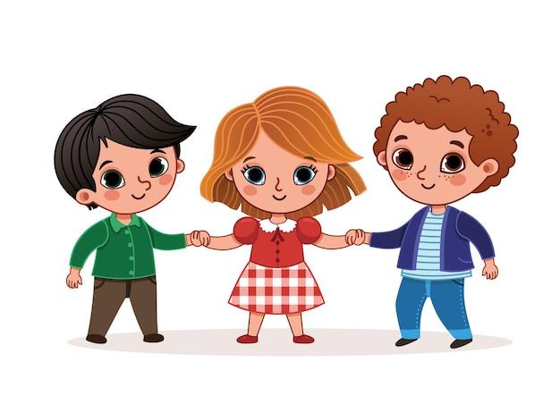Illustration vectorielle de trois enfants main dans la main