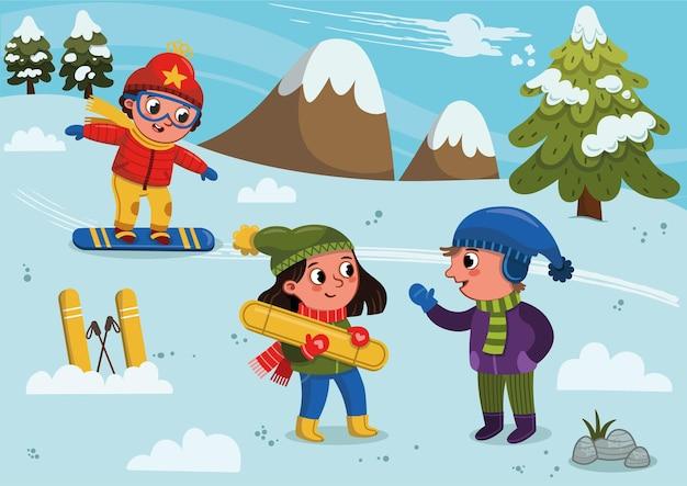 Illustration vectorielle de trois enfants skieurs