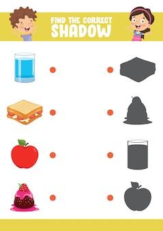 Illustration vectorielle de trouver le bon exercice d'ombre