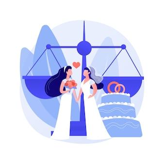 Illustration vectorielle de union civile concept abstrait. partenariat civil homosexuel, même sexe, deux mariés, anneaux de mariage, couple gay ou lesbien, droit de la famille, intolérance et préjugé métaphore abstraite.
