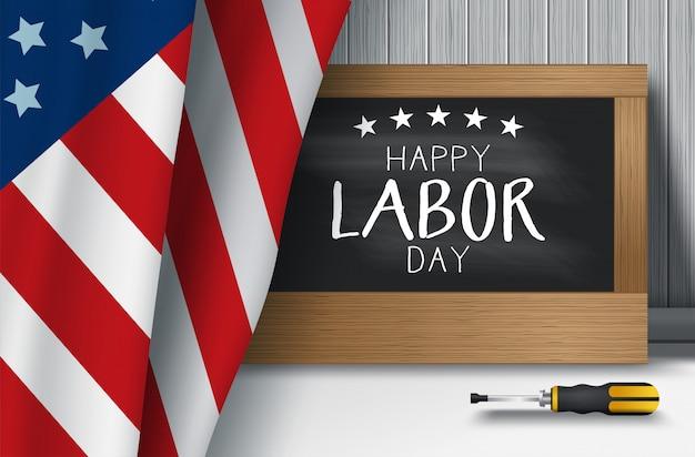 Illustration vectorielle de usa fête du travail de fond avec le drapeau usa, typographie de la fête du travail aux états-unis d'amérique