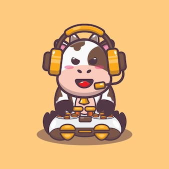 Illustration vectorielle de vache gamer mignon dessin animé