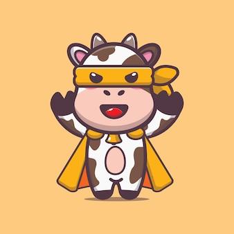 Illustration vectorielle de vache mignonne héros dessin animé