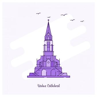 Illustration vectorielle de vaduz cathderal landmark ligne pointillée violette skyline