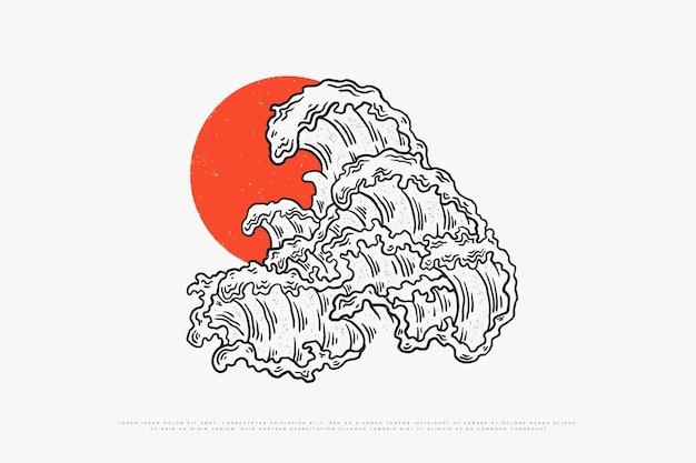Illustration vectorielle de vagues monoline