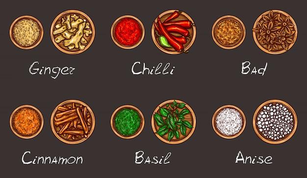 Illustration vectorielle d'une variété d'épices et d'herbes dans des bols en bois sur fond noir