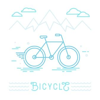 Illustration vectorielle vélo et montagnes