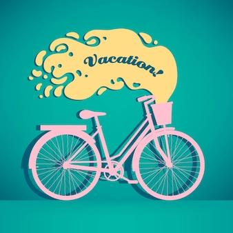 Illustration vectorielle de vélo rétro coloré avec panier et espace copie