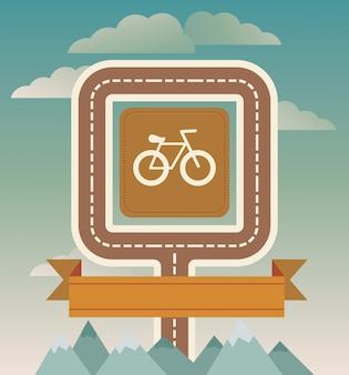 Illustration vectorielle avec vélo, route et ruban - illustration de style vintage