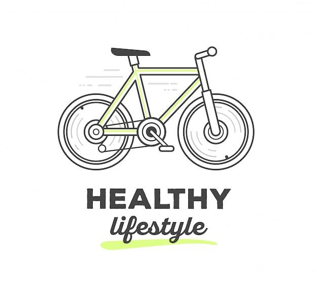 Illustration vectorielle de vélo de sport créatif avec texte sur fond blanc. mode de vie sain