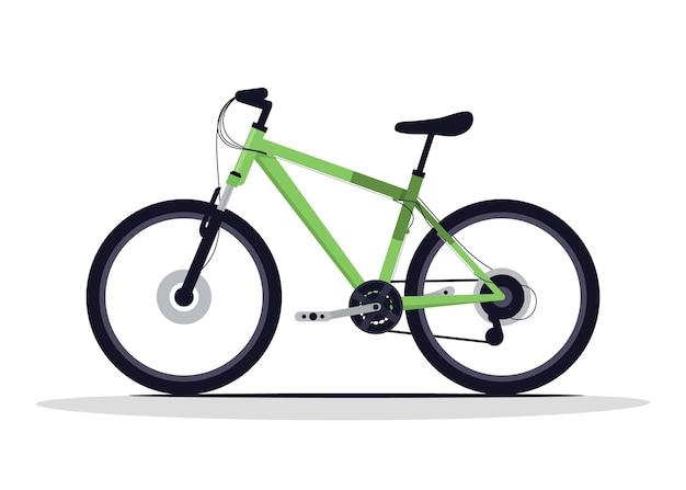 Illustration vectorielle de vélo vert semi plat couleur rvb. véhicule d'équitation en plein air. transport pour sport extrême. équipement d'exercice pour un style de vie actif. objet de dessin animé isolé vélo classique sur fond blanc
