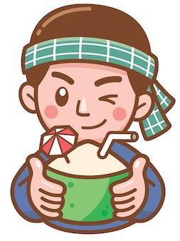 Illustration vectorielle de vendeur de bande dessinée de noix de coco présentant