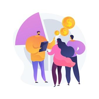 Illustration vectorielle de vente consultative concept abstrait. approche de vente consultative, processus de vente, coaching des vendeurs, représentant d'entreprise, processus de consultation, métaphore abstraite du courtier.