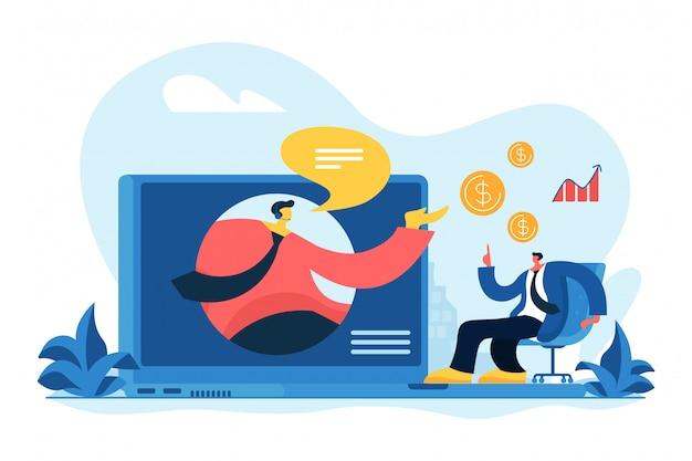 Illustration vectorielle de vente virtuelle concept.