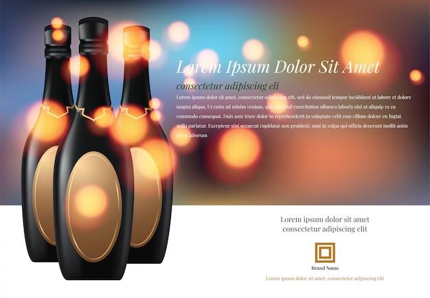 Illustration vectorielle de verre à vin avec une bouteille de champagne dans un seau