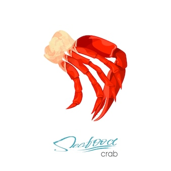 Illustration vectorielle de viande de crabe en style cartoon isolé sur fond blanc