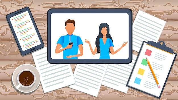 Illustration vectorielle, vidéoconférence en ligne, équipe commerciale. groupe de personnes travaillant à la pige à domicile.